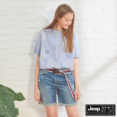 JEEP 女裝 拼接格紋短袖襯衫-淺藍