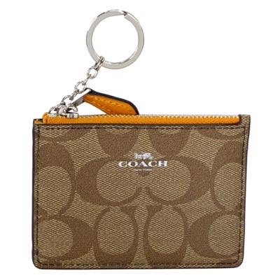 COACH卡其C Logo橙色真皮後卡夾鑰匙零錢包