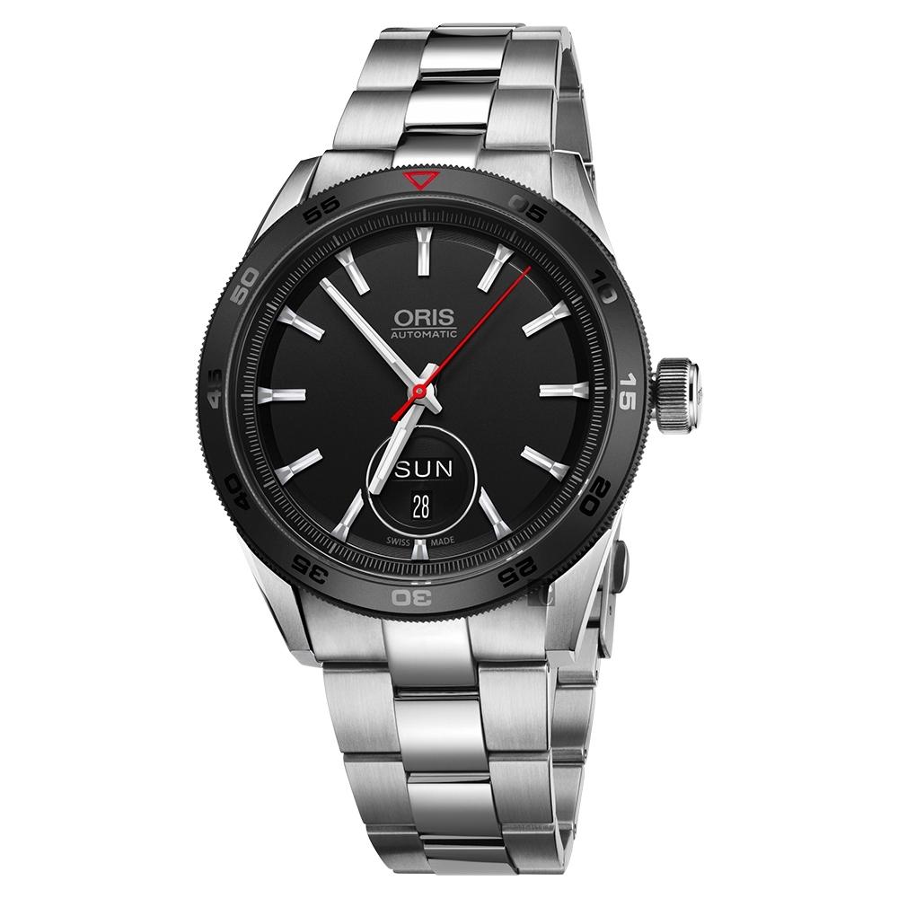 Oris豪利時 Artix GT Day-Date 賽車機械腕錶-黑x銀/42mm