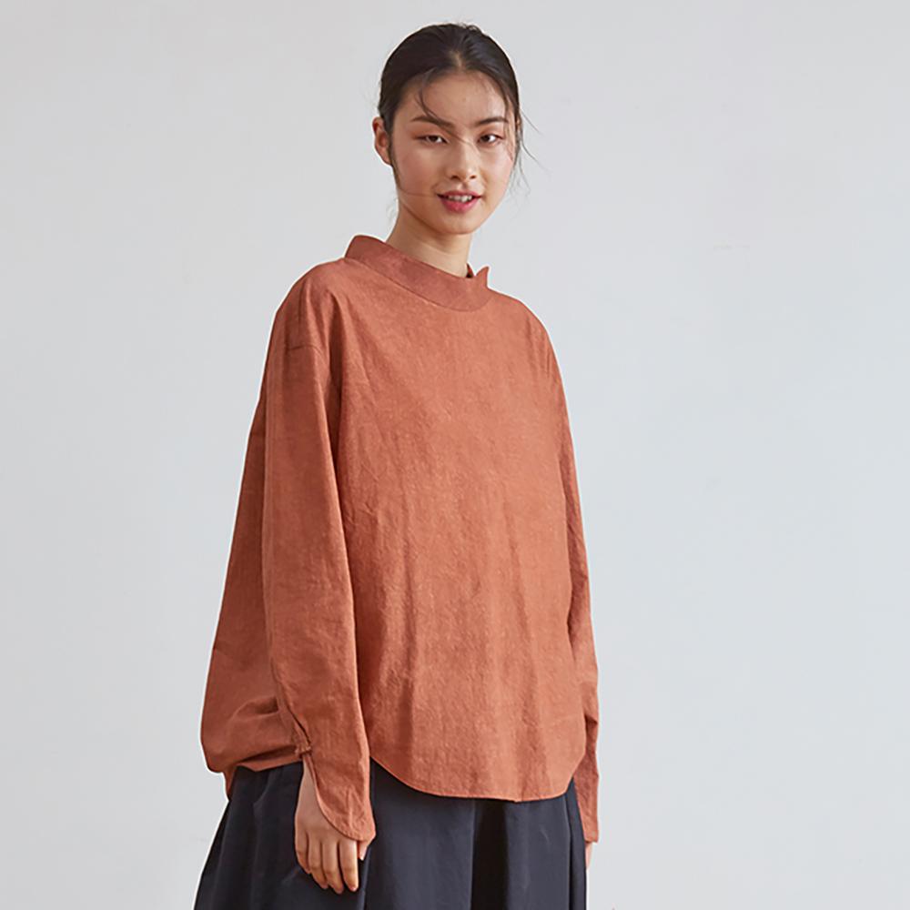 旅途原品_舊事_原創設計純棉炒色立領小衫-橘紅/藍