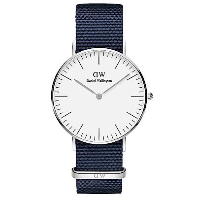 DW手錶 官方旗艦店 36mm銀框 Classic 星空藍尼龍帆布手錶