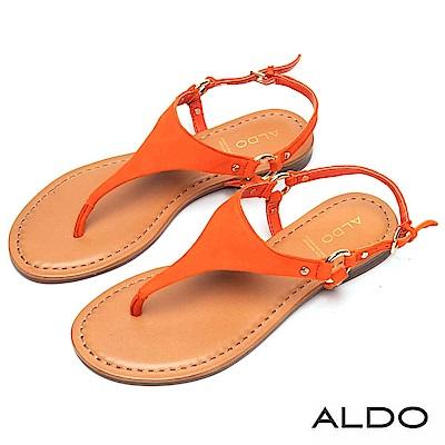 ALDO 原色牛皮T字金屬繫帶夾腳涼鞋~熱情橘色