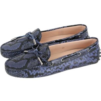 TOD'S Heaven N 蛇紋牛皮綁帶休閒豆豆鞋(女鞋/黑藍色)