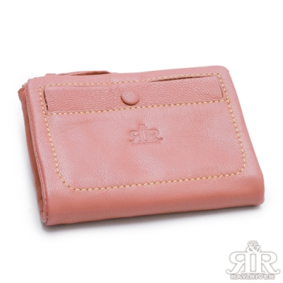 2R 溫柔鬆軟Leather羊皮短夾 名媛粉