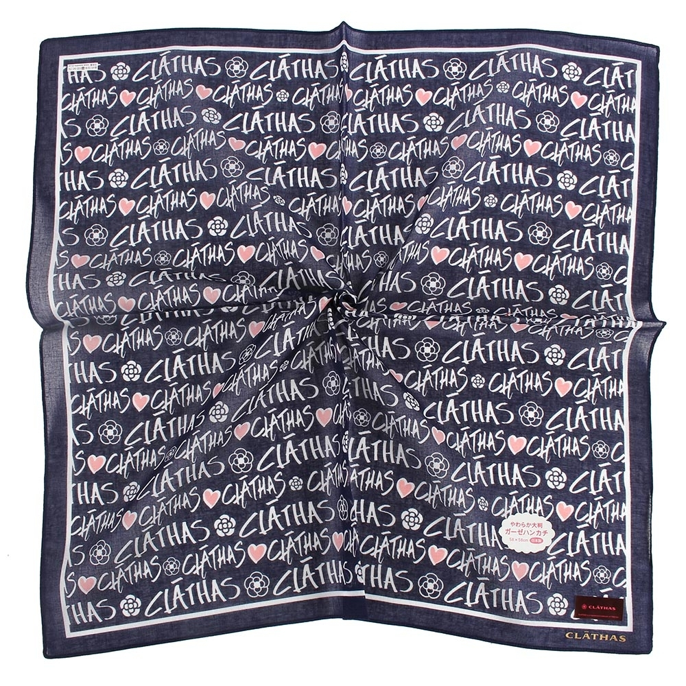 CLATHAS經典燙金LOGO滿版字母帕巾-深藍色