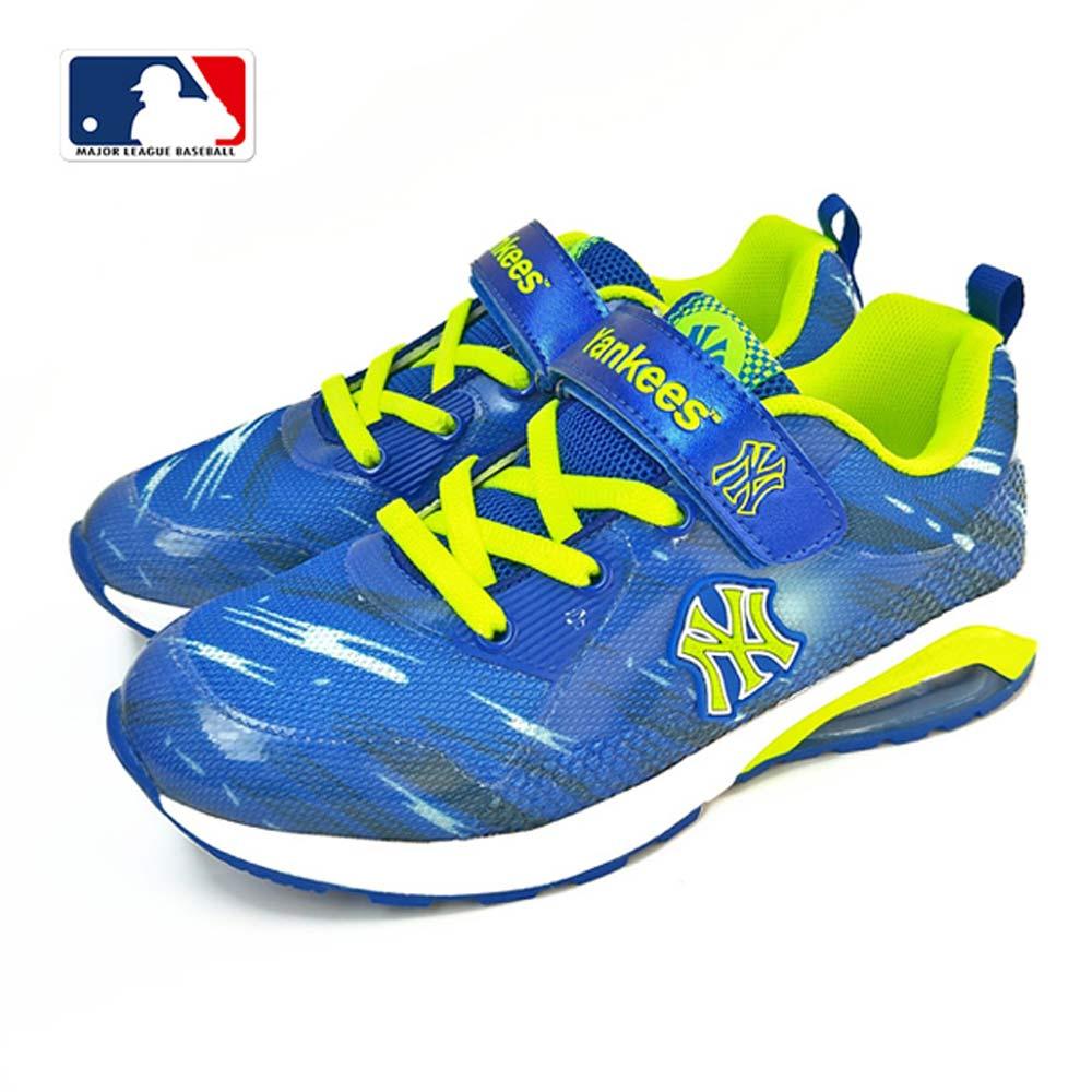 MLB大聯盟洋基網布設計避震氣墊運動鞋_童鞋款_藍/黑