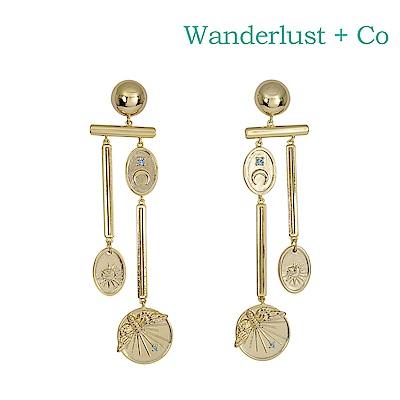 Wanderlust+Co 澳洲時尚品牌 REVERIE閃耀星空垂墜式耳環 金色