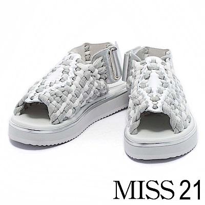 涼鞋 MISS 21 時尚潮流雙色金蔥編織造型厚底涼鞋-銀