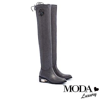 過膝靴 MODA Luxury 完美顯瘦蜜蜂造型金屬拼跟綁帶過膝靴-灰