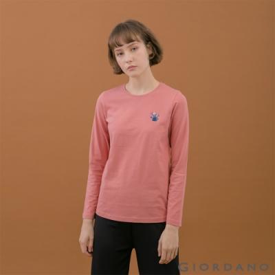 GIORDANO  女裝小清新刺繡長袖T恤 - 91 暗粉紅