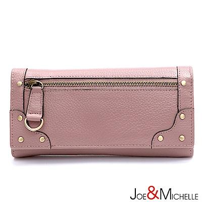J&M 真皮歐迪爾率性長夾 粉嫩紫(快)