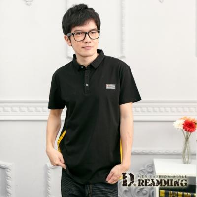 Dreamming 時尚簡約玩色萊卡彈力短POLO衫-共二色