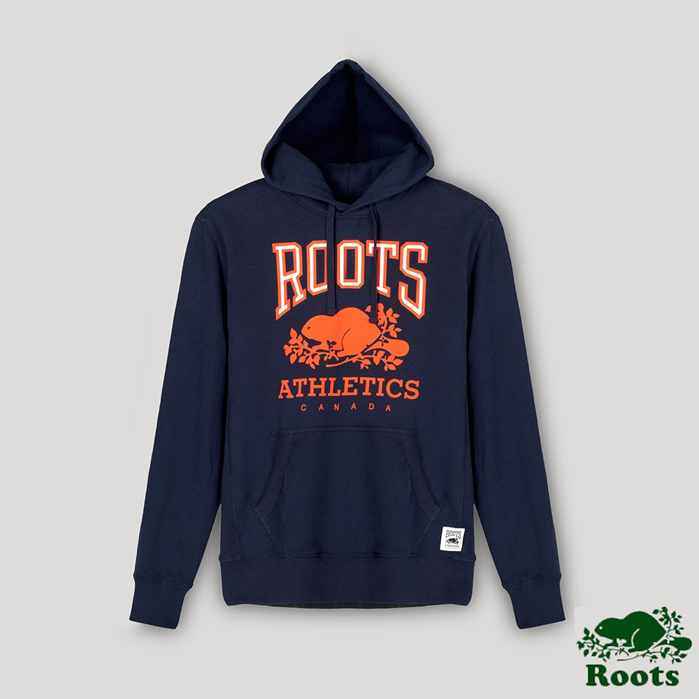 Roots男裝- RBA 原創翻玩系列 經典LOGO毛圈布連帽上衣-藍色