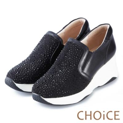 CHOiCE 華麗運動風 牛皮拼接網布水鑽厚底休閒鞋-黑色