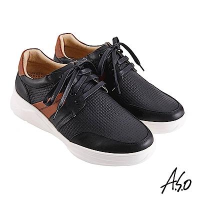 A.S.O機能休閒 輕量抗震編織紋綁帶休閒鞋-黑