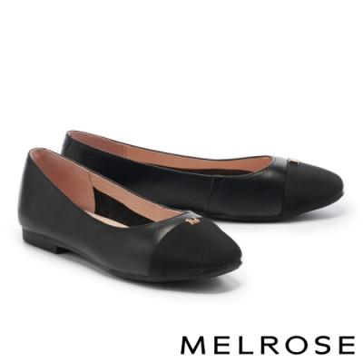 平底鞋 MELROSE 質感撞色M字釦牛皮娃娃平底鞋-黑