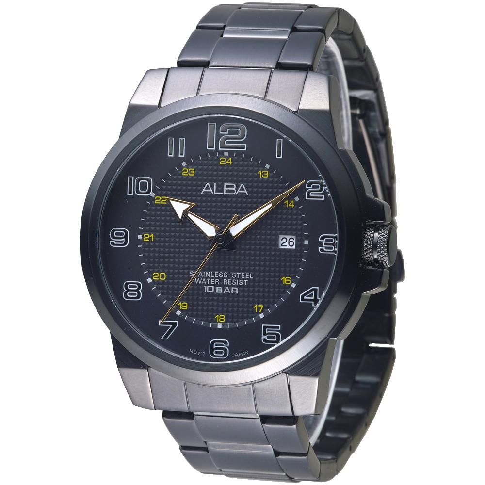 ALBA 都會紳士時尚大數字男錶-全IP黑(AS9C67X1)/46mm 保固二年