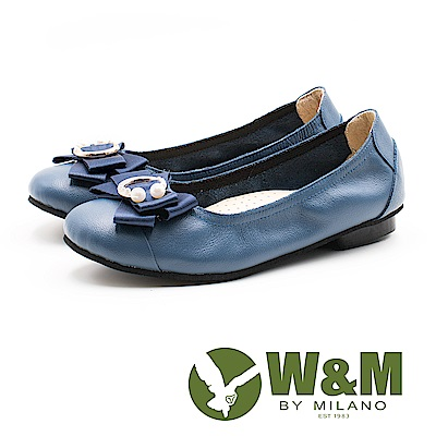 W&M 淑女蝴蝶結 牛皮圓頭平底鞋 女鞋-藍(另有黑)