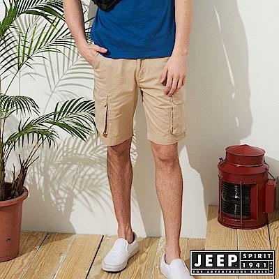 JEEP 經典造型口袋短褲-卡其