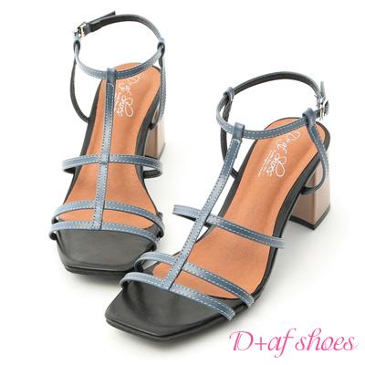 D+AF 絕美時尚.撞色細帶美形高跟涼鞋*藍