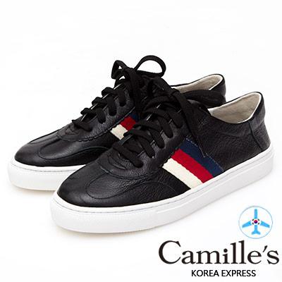 Camille's 韓國空運-牛皮側配色織帶綁帶休閒鞋-黑色