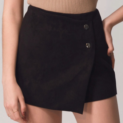 AIR SPACE 金屬鈕麂皮褲裙(黑)