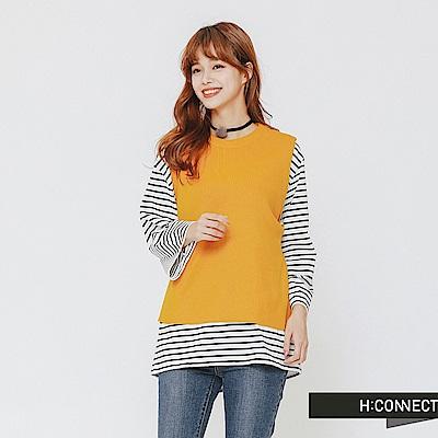H:CONNECT 韓國品牌 女裝-側綁結針織背心-黃
