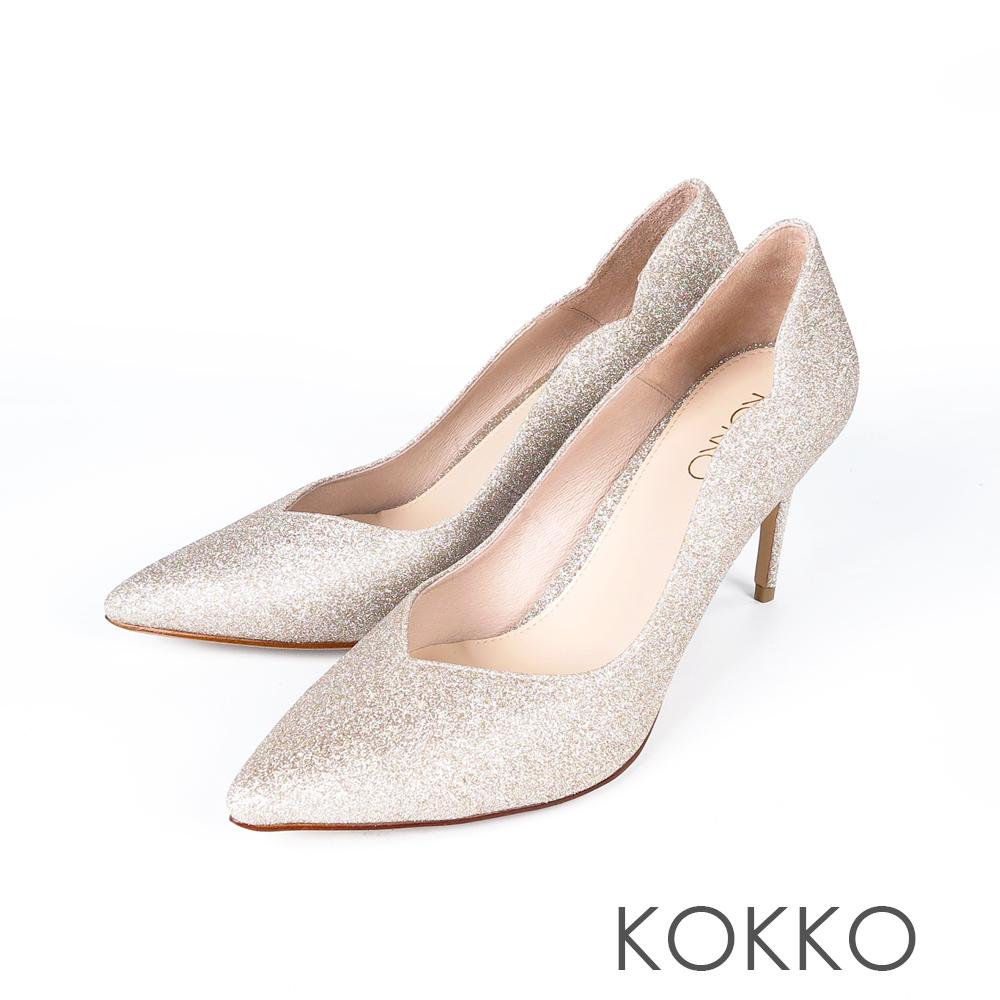KOKKO - 華麗邂逅波浪V字領口高跟鞋-玫瑰金
