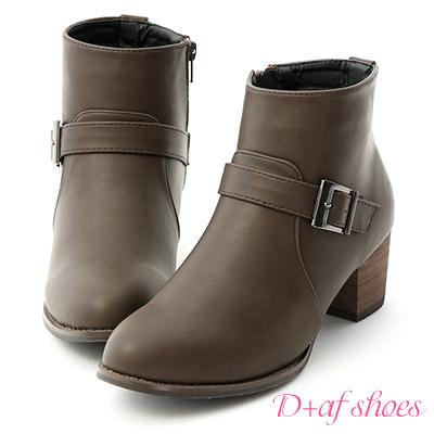 D+AF 時髦個性.金屬單釦環中跟短靴*灰