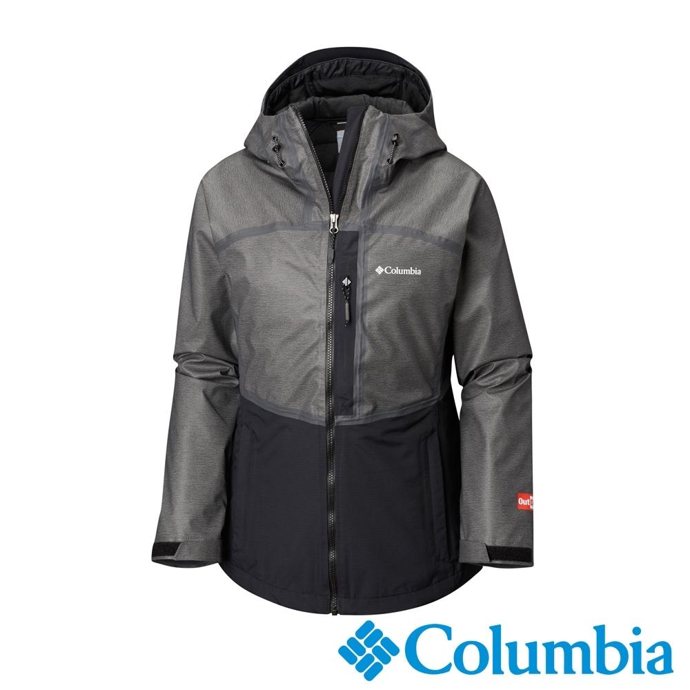Columbia 哥倫比亞 女款- Outdry 防水拼接兩件化纖外套-黑色  UWK70300BK