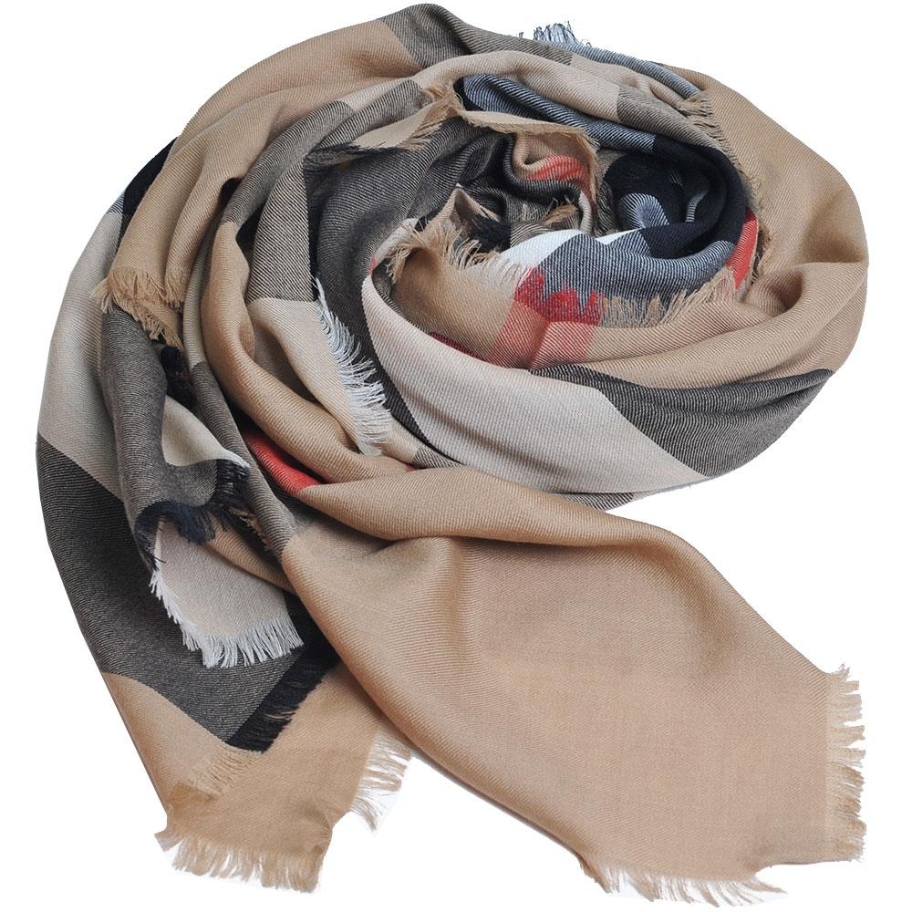BURBERRY 義大利製經典大格紋喀什米爾羊毛圍巾(經典駝/200x100)