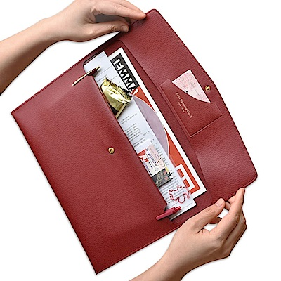 PLEPIC 職人皮革手拿文件包-博根地紅