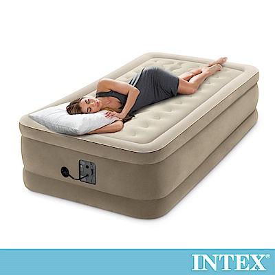 INTEX超厚絨豪華大充氣床-寬99cm(內建幫浦-fiber tech)(64425)