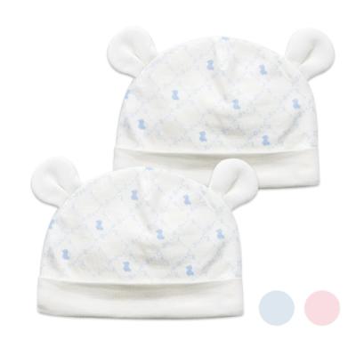 奇哥 早產兒/新生兒造型熊耳保暖帽二入(2色選擇)