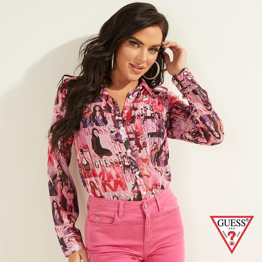 GUESS-女裝-經典品牌照片印圖長袖襯衫-粉 原價1990