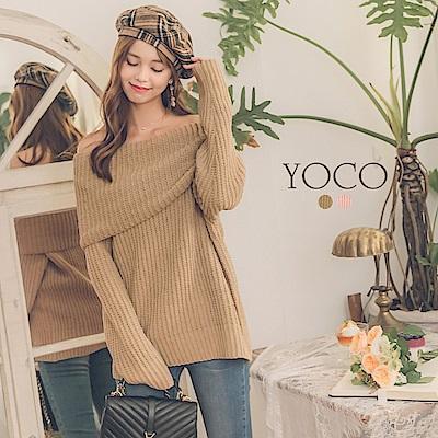 東京著衣-yoco 名媛定番款大翻領美肩長版粗針織上衣-S.M.L(共二色)