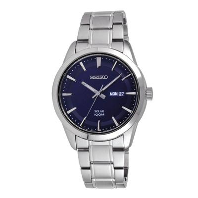 SEIKO 時尚俐落質感太陽能腕錶-銀X藍(SNE361P1)-43mm