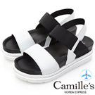 Camille's 韓國空運-正韓製-一字撞色寬版鬆緊帶輕量涼鞋-白色