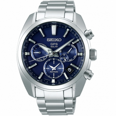 SEIKO精工ASTRON 5X53雙時區太陽能手錶(SSH019J1)-藍
