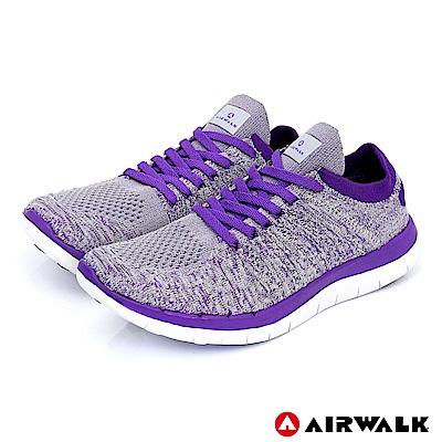 【AIRWALK】編織慢跑鞋-女款-灰紫