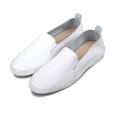 BuyGlasses 時尚素面微尖頭真皮懶人鞋-白