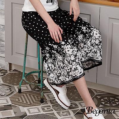 Begonia 點點印花寬口褲裙(黑色)