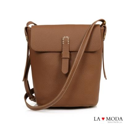 La Moda 輕巧便攜高質感荔枝紋肩背斜背小包(棕)