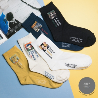 阿華有事嗎 韓國襪子 小幅西洋名畫中筒襪  韓妞必備少女襪