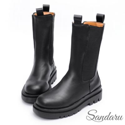 山打努SANDARU-中筒靴 個性厚底切爾西中靴-黑
