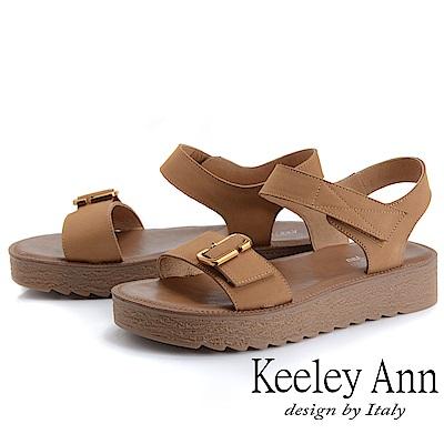 Keeley Ann簡約一字帶 寬帶厚底魔鬼氈涼鞋(土黃色)