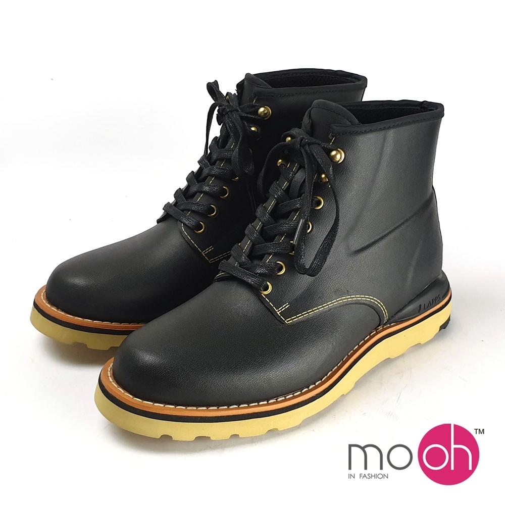 mo.oh男雨鞋防水綁帶厚底休閒馬丁雨靴-黑色
