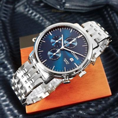 CITIZEN 三眼計時 礦石強化玻璃 日期視窗 日本機芯 不鏽鋼手錶-藍色/41mm