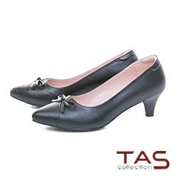 TAS鱷魚壓紋蝴蝶結v口尖頭粗跟鞋