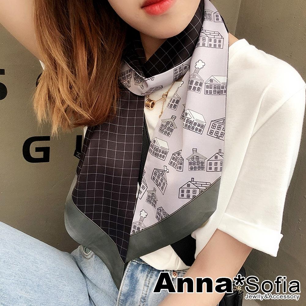 AnnaSofia 小房子格線斜角 窄版緞面仿絲領巾絲巾圍巾(黑灰系)